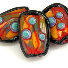 Paint the Town Red - Handmade Lampwork Glass Bead Set (3) OOAK SRA  -  Sarah Hornik
