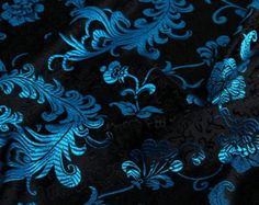 Chinese brocade fabric with feather and flowers design. Ideal for making Asian oriental dress or Asian home decor. Ship Worldwide from Hong Kong. Chinese Fabric, Asian Fabric, Black Background Pattern, Art Chinois, Art Japonais, Art Textile, Patchwork Fabric, Brocade Fabric, Hanfu