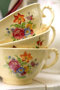 From: Madelief / charming tea cups Vintage Dishes, Vintage China, Vintage Cups, Antique China, Vintage Floral, Tea Cup Saucer, Tea Cups, Yellow Cottage, Vintage Gardening