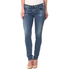 AG Adriano Goldschmied The Stilt in 8 Years Mellow (8 Years Mellow)... ($79) ❤ liked on Polyvore featuring jeans, blue, super stretchy skinny jeans, blue skinny jeans, medium wash skinny jeans, low rise skinny jeans and super low rise skinny jeans