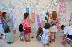 Our Town. collabor mural, art studios, overhead projector, collaborative art, small hands big art, collabor piec, art projects, kid, collabor art