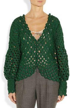 Oscar De La Renta Crochet/ Knit Silk Cardigan in Green - Lyst