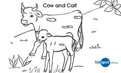 Kids Activities - Cow - Colouring Pages