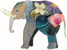 Geninne Image Elephant, Elephant Love, Elephant Art, Elephant Watercolor, Colorful Elephant, Elephant Drawings, Elephant Family, Elephant Illustration, Watercolor Illustration