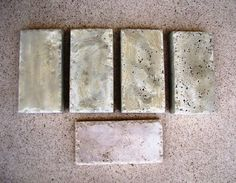 baking soda & rock salt makes a travertine finish when pouring concrete: tutorial on this site.