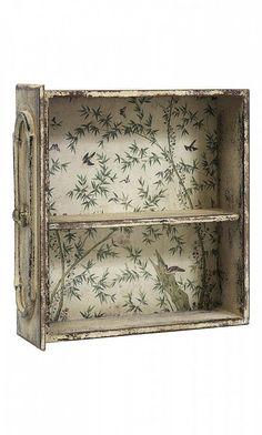 Drawer | wall / table shelf- adorned with wallpaper