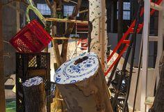 Homecoming (detail), November 2013 (Smack Mellon, Brooklyn, NY). Mixed-media installation. 35 x 2.5 x 12 feet.