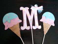 Ice Cream Centerpiece set, Ice cream party decorations by SweetBugABoo on Etsy https://www.etsy.com/listing/220789435/ice-cream-centerpiece-set-ice-cream