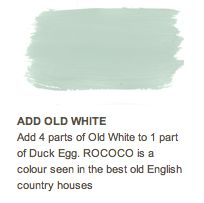 beautiful baby blue color.  I did 3 parts of AS old white to 1 part duck egg blue.  It is also beautiful & perfect :-)