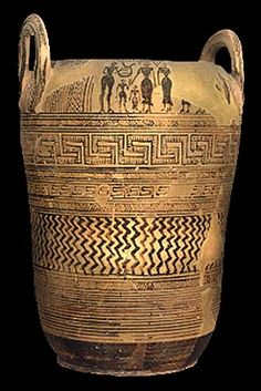 Late Geometric grave pithos from Thebes. Its body is decorated with zones containing geometric motifs of the period: maeanders, lozenges, narrow bands and vertical zig-zags. Ancient Greek Art, Ancient Romans, Ancient Greece, Ancient Egypt, Egyptian Art, Ancient Aliens, Greek History, Ancient History, European History