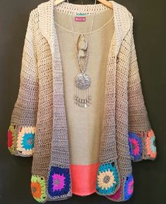 Hand labor little motif stylish pattern Crochet Cardigan Pattern, Crochet Jacket, Crochet Blouse, Crochet Poncho, Crochet Granny, Crochet Hippie, Beau Crochet, Mode Crochet, Crochet Designs