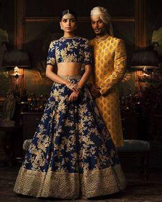 Looking for Sabyasachi Navy Blue Lehenga with gold work? Browse of latest bridal photos, lehenga & jewelry designs, decor ideas, etc. Indian Bridal Outfits, Indian Bridal Wear, Indian Dresses, Bride Indian, Indian Wear, Bridal Dresses, Red Lehenga, Bridal Lehenga, Navy Blue Lehenga