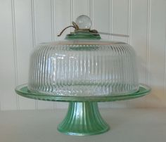 Cake Stand with dome / Mint green / Vintage glass cake stand and lid