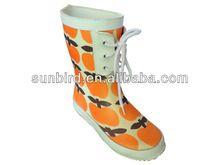 (Hot sale)cutie design kids orange rubber rain boots/gumboots/half boots