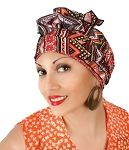 Red Yellow Tribal Turban Set, Cancer Hat, Chemo Alopecia Hat