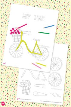 Our bicycle coloring page is a perfect and fun activity for your kids (or yourself). We've included a cut-and-paste page so you can build your own bike. Color Activities, Party Activities, Activities For Kids, Crafts For Kids, Free Printable Coloring Sheets, Adult Coloring Pages, Printable Crafts, Free Printables, Bicycle Decor
