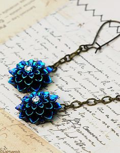 Blue Dahlia Earrings. Rhinestone Flower Dangle by LizHutnick, $18.00