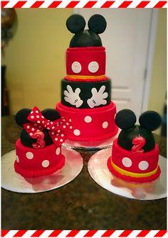 Mickey & Minnie Theme Birthday Cake and smash caked