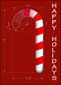 "Candy Cane Drawing ""architecture"" themed Christmas Card"