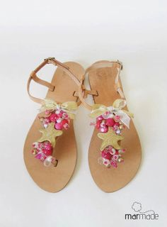 Sandals  Handmade Sandals decorated with fuchsia gold by MyMarmade, €43.00 #sandals #summer #marmade #flatsandals
