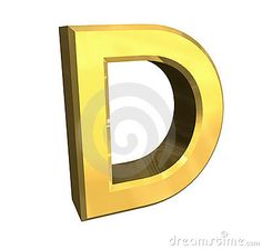Gold 3d Letter D