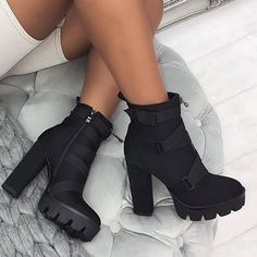 2019 New Fashion Spring Autumn Platform Ankle Boots Women Thick Heel Platform Boots Ladies Worker Boots Black Big Size 41 Knee High Stiletto Boots, Platform Ankle Boots, High Heel Boots, Shoe Boots, Buy Boots, Women's Shoes, Black Heel Boots, Platform Boots Outfit, Women's Heeled Boots