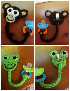 Off-the-Hook Crochet: Pacifier Clips free pattern Love Crochet, Crochet For Kids, Diy Crochet, Crochet Crafts, Crochet Ideas, Crochet Amigurumi, Crochet Toys, Crochet Animals, Yarn Projects