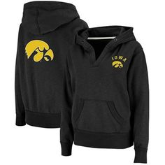 $39.95 Iowa Hawkeyes Ladies Black Balance Slub V-Neck Pullover Hoodie Sweatshirt