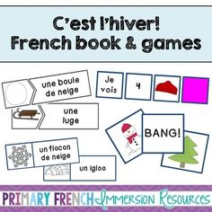 French winter / l'hiver - Mini book and centres. Teach winter vocabulary to your French Immersion or Core French students! Learning Centers, Student Learning, French Learning Books, French Sentences, Kindergarten Games, Preschool, Core French, Teacher Books, French Resources
