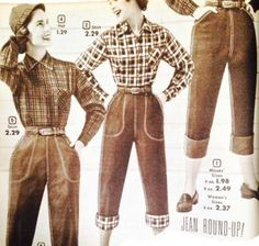 Denim Capri's Jeans. Adding decorative trim to pocket openings that matched the lining exposed on cuffs was an extra bit of fashion . #1950sfashion #jeans