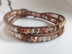 Antiqued copper Rose gold copper peach Amber pink bohemian leather double wrap bracelet