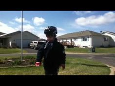 Little Boy Learns to ride a bike  and gives a funny little speech!