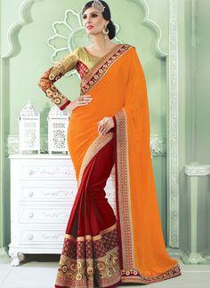 Orange Georgette Embroidered Work Designer Wedding Saree
