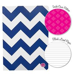 "$9.95 Navy Chevron Fashion Notebook Journal Blank Lined Composition Notebook 7"" x 10"" by bloom daily planners"
