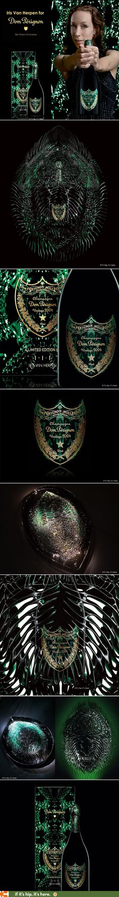 Iris Van Herpen creates Metamorphosis. A limited edition bottle, label and made to order art piece (the Cocoonase) for Dom Perignon