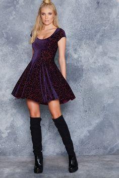Black Milk Clothing Burned Velvet Royal Sparkle Evil Cheerleader Dress L $120