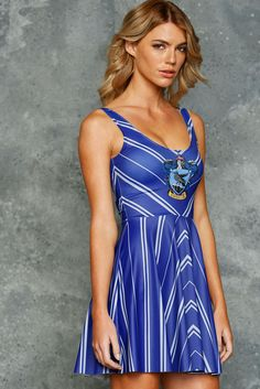 Ravenclaw Scoop Skater Dress ($95AUD) by BlackMilk Clothing
