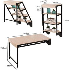 Desk Wall Mounted Table Fold Out Convertible Storage Rack Shelf, Home Office Wall Mounted Dining Table Study Computer for Small Space Folding Furniture, Smart Furniture, Space Saving Furniture, Steel Furniture, Home Decor Furniture, Furniture Design, Table Shelves, Table Storage, Storage Rack