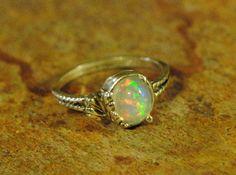 Fiery Bright Ethipian Welo Opal Ring in by LeapingLemurBaubles, $100.00
