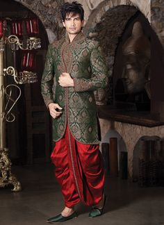 Rich Green Brocade Dhoti Style Sherwani