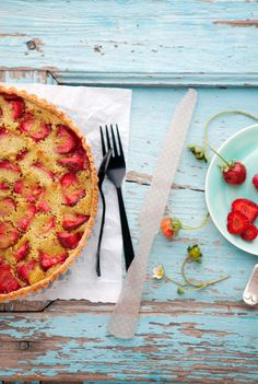 strawberry, pistachio, brown butter tart