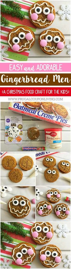 Easy Gingerbread Man Cookies on Frugal Coupon Living. Easy Gingerbread Man Cookies made with Little Debbie®️️ Oatmeal Creme Pies. This is a fun and adorable Kids Food Craft for the Christmas season! #LittleDebbie #gingerbread #gingerbreadmen #christmas #christmascrafts #christmasrecipesforkids #christmasrecipies #christmastime #foodcraft #kidsfoodcraft #gingerbreadcookie