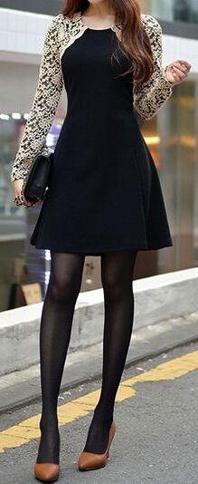 Elegant Lace Sleeve Black Dress