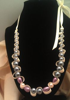 Glass pearl beaded necklace  Purple and dark by AlyxAndreaDesign, $10.00