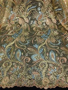 """GOLD MESH W/ GOLD BLUE PEACOCK FEATHER EMBROIDARY SEQUINS LACE FABRIC 50"""" 1 YD"""