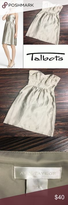 TALBOTS champagne dress Gorgeous champagne silk dress! Perfect to wear for any event. Worn once to a wedding, last three pics depict slight wear, but barely noticeable. Talbots Dresses Wedding