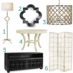 Love the mirror!! The two lamps are really lovely too. The shape is really the focus of the pieces-- it doesn't have a loud color that distracts from the beauty of the quatrefoil design