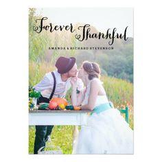 FOREVER THANKFUL CUTOM PHOTO PORTRAIT PICTURE BRIDE GROOM SCRIPT | WEDDING PHOTO CARD