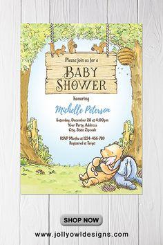 Winnie The Pooh Baby Shower Invitation Winnie The Pooh Honey, Winne The Pooh, Winnie The Pooh Birthday, Vintage Winnie The Pooh, Boy Baby Shower Themes, Baby Shower Invites For Girl, Baby Shower Parties, Baby Boy Shower, Ducky Baby Showers