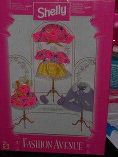 1997 BARBIE SHELLY KELLY FASHION AVENUE PARTY DRESSY FASHION SET OF 3 OUTFITS!!  #Mattel